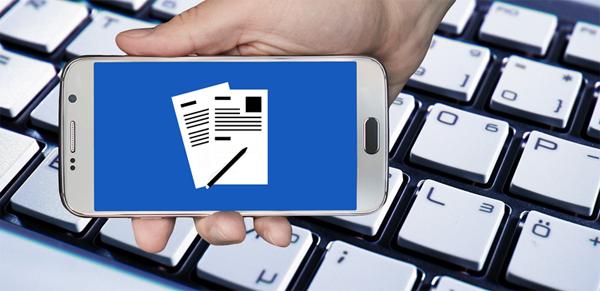 Online Portal auf Handy