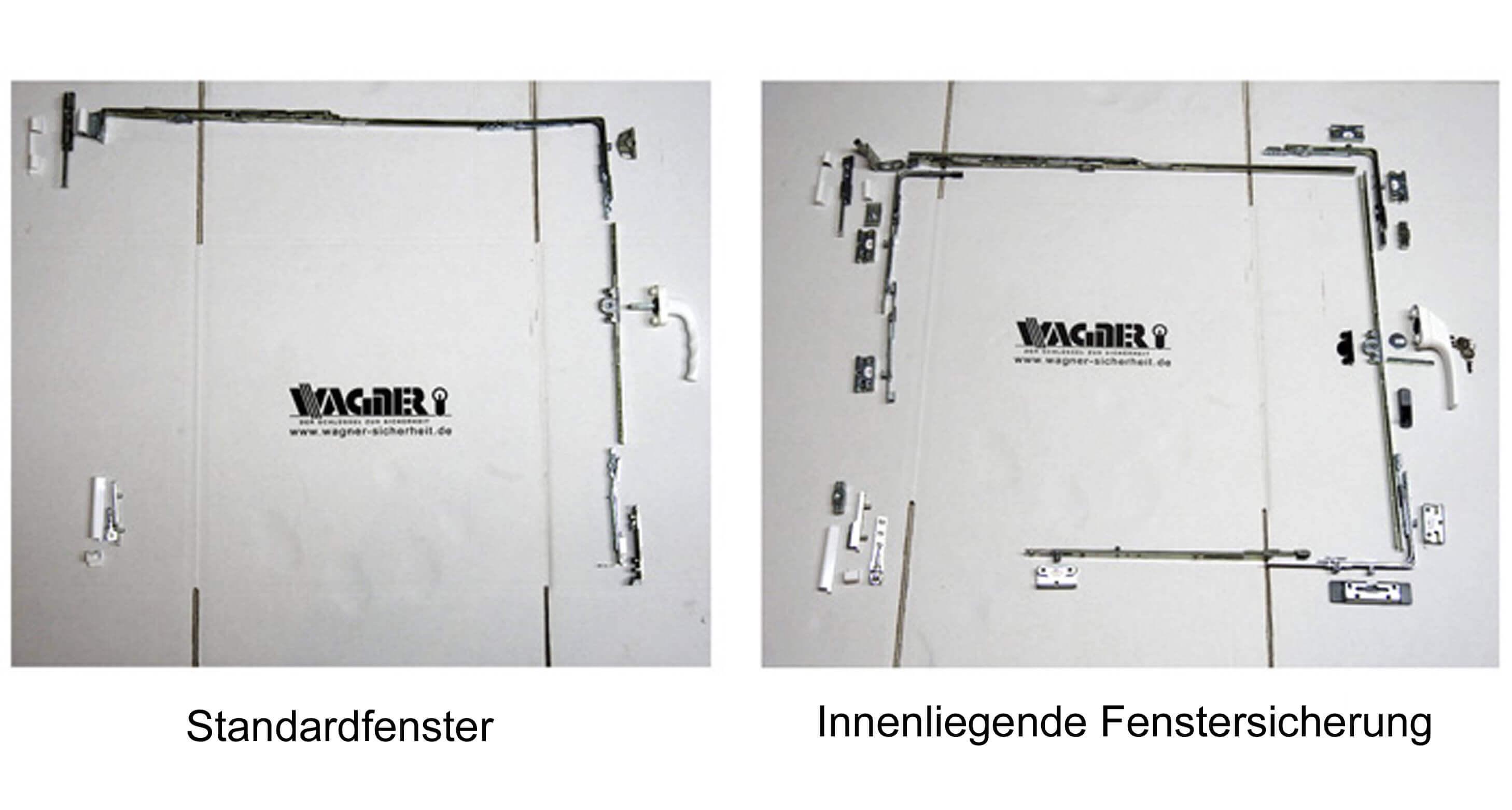 Fensterabsicherung, Einbruchschutz, innenliegende Fensterabsicherung, Vergleich zwischen Standart und sicherem Fenster